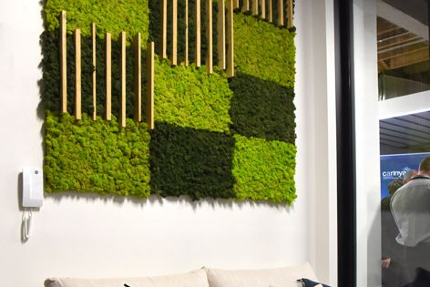 A custom display at an Alspec showroom in Surry Hills, Sydney, demonstrates Mosswall interior panels by Verde Profilo.