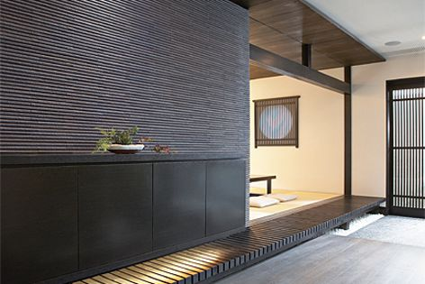 Hosowari Border cladding by Inax is drawing on traditional Japanese tiling techniques.