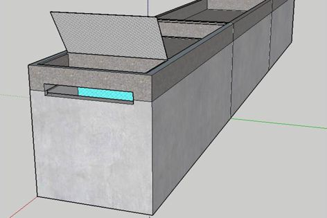 Landscape Tanks are made from 50 mpa concrete, require no footings and come with their own engineering drawings.