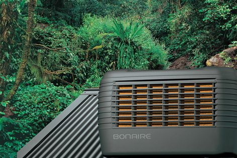 The Bonaire Aquamiser evaporative airconditioner automatically minimizes water usage.