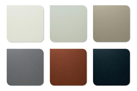 Bondor lightweight architectural panels are available in six new vibrant colours from BlueScope's latest Colorbond Metallic steel range. (L–R top) Galactic, Cosmic, Rhea; (L–R bottom): Astro, Aries and Celestian.