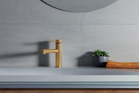 The Turoa basin mixer is available with a PVD finish in 'Gun Metal,' 'Graphite' and 'Gold.'
