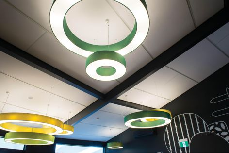 USG Boral's Asona acoustical panels are a flexible option for architects and designers looking to reflect a client's brand in the design of a workplace.