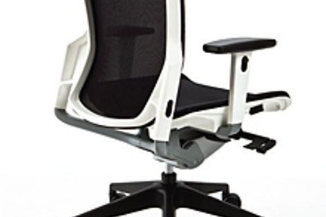 The E6 chair from Baseline is available in black and white versions with a black mesh back.