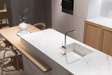 The Touché iTOPKer countertop collection by Inalco is defined by its ultra-white appearance.