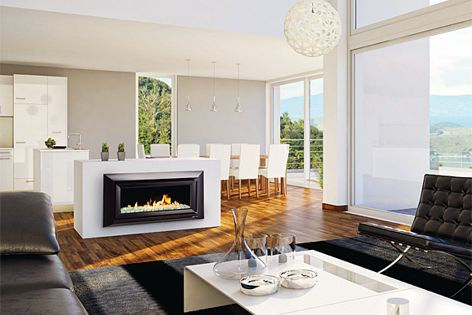The new DL850 gas fireplace from Escea can be controlled via a smartphone.