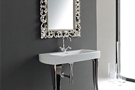 The Jazz Console 91 basin features diamond-shaped legs and a modern basin.