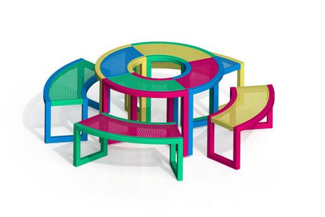 The chairs and tables in this modular design allow for many different configurations.