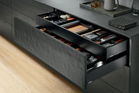 LEGRABOX pure offers more design possibilities for creating deeper drawers, pull-outs and handle-less designs.