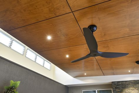 Shown here in 'Blackbutt' and available in a range of seven colours, Ariaply prefinished plywood panels are suitable for interior and semi-exterior wall and ceiling applications.