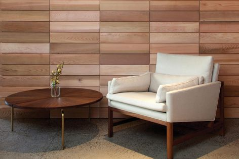 Suitable for use indoors or out, the Sleek Series timber tile from Stack Panel adds warmth and texture to a space.