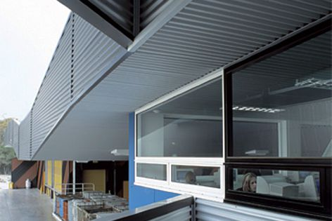 Kangan Batman TAFE uses cladding in BlueScope steel to create a distinctive exterior finish.