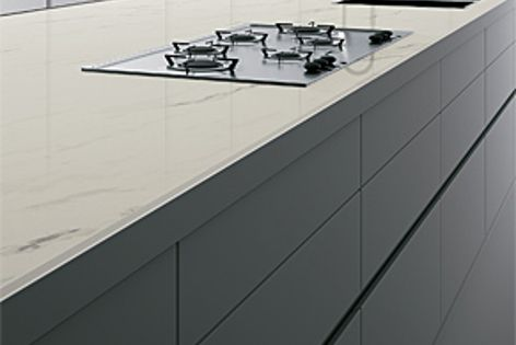 Maximum pressed porcelain provides incredible durability for kitchen work surfaces.