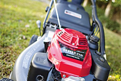 The four-stroke engine in Honda's Buffalo Buck lawn mower delivers power, fuel economy and torque.