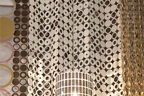 Le Labo metallic textiles can be used for curtaining, screens, room dividers and lighting.