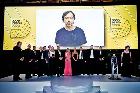 Marc Newson (pictured on screen) collaborated with GWA to create the Caroma Marc Newson collection, winner of the 2014 Good Design Award of the Year.