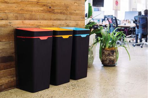 Method's recycling and waste stations provide visible encouragement for conscious recycling in the workplace.