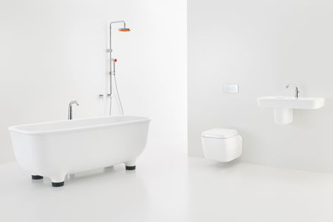 The Caroma Marc Newson collection includes mixer taps, showers, concealed toilet suites and basins.