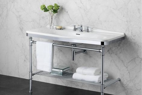 The polished chrome Metallo 114 washstand from Victoria and Albert can suit a range of bathroom styles, from period to industrial.